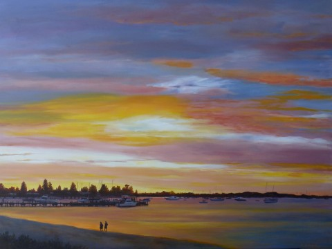 Last Light Rockingham Foreshore - acrylic on canvas 76 x 102cms