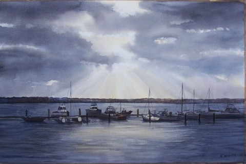 Mindarie Sunset - Watercolour 35.5 x 54.5 cms