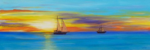Pearl Luggers at Sunset - Broome, Acrylic 39 x 114.5 cms