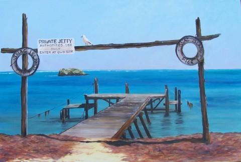 Snag Island - Leeman, Acrylic 51 x 76.5 cms